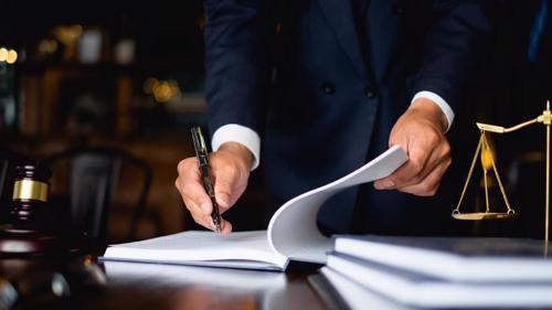 A lawyer filing paperwork for a Los Angeles Taxotere lawsuit.