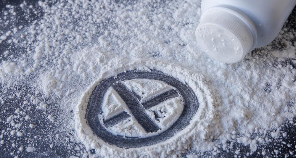 talc-based baby powder with an x through it